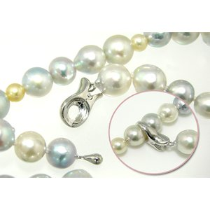 ロングネックレス用 シンプル クリップクラスプ&エンドパーツ 《真珠3.5〜7.0mm対応》  シルバー(silver)  [n4]|wsp