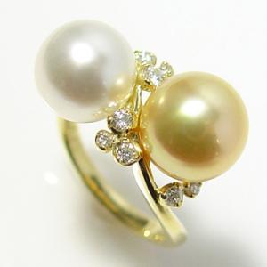 【受注発注品】南洋白蝶真珠を2つ使った 贅沢パールリング(指輪)  ゴールド系/ホワイト系 9mmUP AAB  0.20ct K18 ゴールド[n6]|wsp