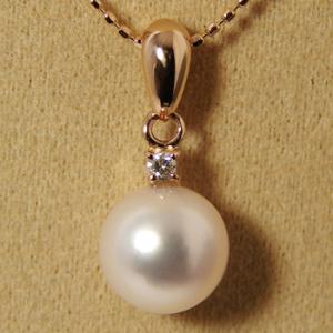 あこや真珠 1粒ダイヤバチカン パールペンダントトップ(ヘッド) ホワイト系 8.0-8.5mm BBB K18PG 0.03ct [n4][52-7187]|wsp