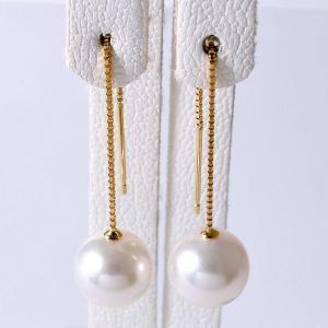 あこや真珠 チェーンパールピアス ホワイト系 8.0-8.5mm BBB  K18 ゴールド  ベネチアン 5cm [n4]|wsp
