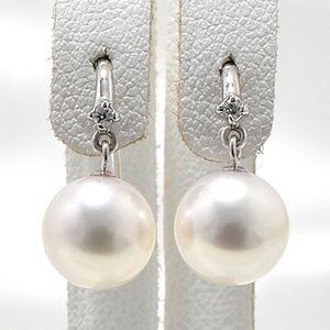 あこや真珠 ダイヤ付き フックパールピアス ホワイト系 8.0-8.5mm BBB  K14WG ホワイトゴールド [n3]|wsp