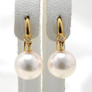 あこや真珠 ダイヤ付き フックパールピアス ホワイト系 8.0-8.5mm BBB  K18 ゴールド [n3]|wsp
