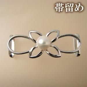 着物・和装スタイルに〜 淡水真珠 1粒パール 帯留め ホワイト系 8.0-8.5mm A〜BA〜B  シルバー(silver) 【受注発注品】[n5]|wsp