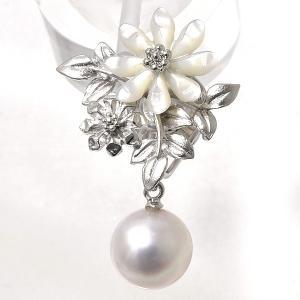 アコヤ真珠 フラワーブーケ ホワイトシェル パールブローチ ホワイト系 8.5-9.0mm BBB シルバー(silver) 【受注発注品】[n5] wsp