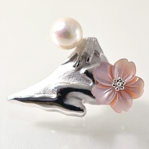 あこや真珠 〜パール富士 雲海と桜〜 ピンクシェル パールブローチ ホワイト系 7.0-7.5mm BBB シルバー(silver)  【受注発注品】[n5]|wsp