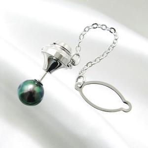 あこや黒真珠 ネクタイピン(タイタック/ラペルピン)(チェーン付) グリーン系 8.0-8.5mm BBB  針の材質/K14WG ホワイトゴールド[n3]|wsp