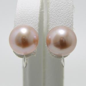 淡水真珠 パールイヤリング ピンク(ナチュラル)系 8.0-8.5mm A〜BA〜B  K14WG ホワイトゴールド [n3][53-5034] wsp
