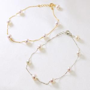 あこや真珠 選べるパールブレスレット パールホワイト系 5.0-5.5mm A〜BA〜BA〜B  K18/K18WG ホワイトゴールド(アコヤ本真珠)[n3]|wsp