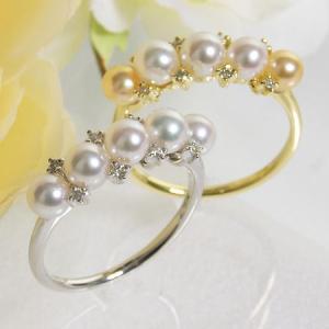 【受注発注品】あこや真珠 ベビーパール5粒 パールリング(指輪) ホワイト/ゴールド系 4.0-4.5mm BBB  K18WG/K18 ゴールド[n6]|wsp