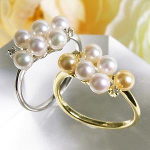 【受注発注品】あこや真珠 ベビーパール6粒 パールリング(指輪) ホワイト/ゴールド系 4.0-4.5mm BBB  K18WG/K18 ゴールド[n6]|wsp