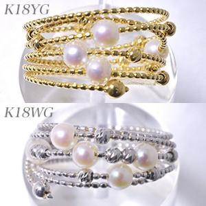 K18WG/K18YG スパイラル パールリング 〜Petit Claire(プチクレール)〜 あこや真珠 ホワイト系 3.0-3.5mm フリーサイズ(S・M)形状記憶ワイヤー[n6]|wsp|03