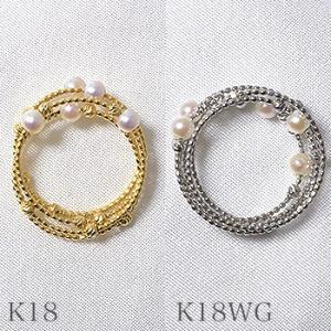 K18WG/K18YG スパイラル パールリング 〜Petit Claire(プチクレール)〜 あこや真珠 ホワイト系 3.0-3.5mm フリーサイズ(S・M)形状記憶ワイヤー[n6]|wsp|05