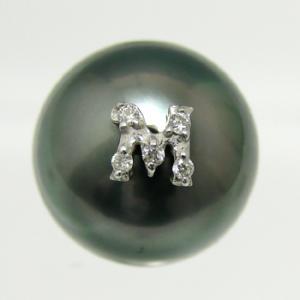メレダイヤのイニシャル穴ふさぎ加工 《A〜Z》 K18WG/K18 (※真珠は別売りです)[n5]|wsp