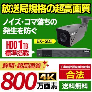 防犯カメラ 4K(800万画素)日本製 EX-SDI 屋外 防犯カメラセット 放送局規格SDI 赤外線 監視カメラ 1台 と 録画機のフルセット【WTW 塚本無線】 wtw