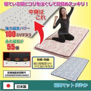 磁気マット 爽やか 健康磁気マット 腰痛緩和 首こり 肩こり 背筋の張りに フェライト磁石 マグネット血行 快適な睡眠 花柄 ピンク ブルー|wtz
