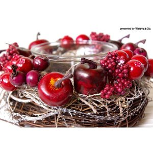 キャンドルホルダー/リース WreathCandleHolder RD (リンゴ)|wutty