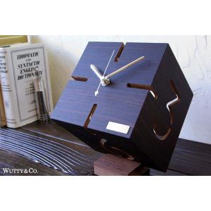 置時計 ウッド PUZZLE DB 黒檀 (おしゃれ 置き時計)|wutty