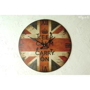 壁掛時計 Keep Calm ( ユニオンジャック アンティーク調 おしゃれ 掛時計 )|wutty