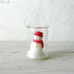 キャンドル スノーマン Glass In Candle SnowMan ( おしゃれ 雪だるま ローソク )|wutty