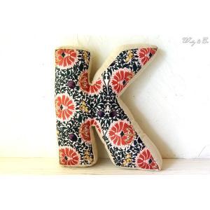 クッション アルファベット 【K】 ( おしゃれ リネン 綿入り 座布団 ファブリック インテリア雑貨 ) KJCA|wutty
