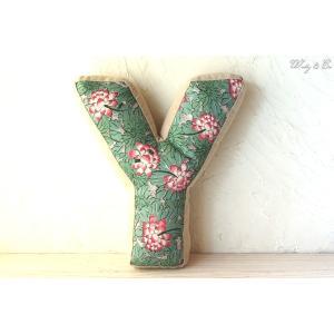 クッション アルファベット 【Y】 ( おしゃれ リネン 綿入り 座布団 ファブリック インテリア雑貨 ) KJCA|wutty