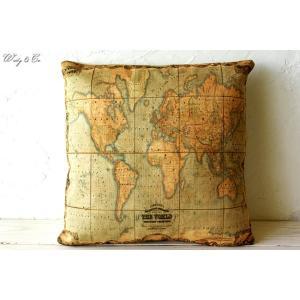 クッション THE WORLD 45×45 ( 中身入り カバー おしゃれ アンティーク調 地図 正方形 ファブリック ) HTCA|wutty