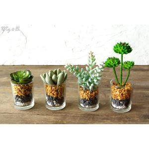 人工観葉植物 Succulent Glass Pot 4点set ( 多肉植物 フェイクグリーン おしゃれ サボテン )|wutty