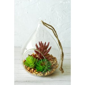 フェイクグリーン Terrarium Drop L ( テラリウム 壁掛け 多肉植物 人工観葉植物 おしゃれ ハンギング ) HT|wutty
