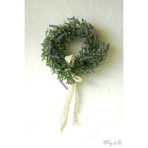 リース Lavender Wreath Ribbon ( ラベンダー 壁掛け 人工観葉植物 フェイクグリーン 壁飾り ハンギング )|wutty