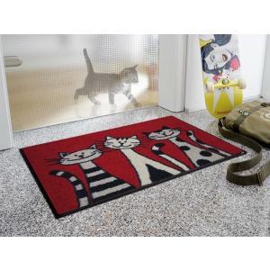 玄関マット Three Cats 50x75cm (屋外・屋内兼用)|wutty