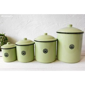 保存容器 ホーロー キャニスター 4個set Green|wutty