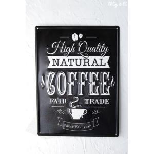 ティンプレートL Natural Coffee エンボス加工 ( ブリキ看板 壁掛け 壁飾り メタルプレート サインプレート スチールサイン メタルサイン ) KISP|wutty