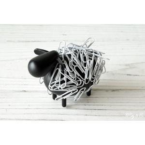 クリップ 収納ホルダー SheepClipper Black マグネット式 ( アニマル ひつじ 文房具 おもしろ おしゃれ 卓上 オブジェ )|wutty