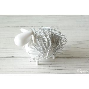 クリップ 収納ホルダー SheepClipper White マグネット式 ( アニマル ひつじ 文房具 おもしろ おしゃれ 卓上 オブジェ )|wutty