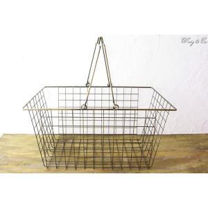 ワイヤーバスケット AntiqueGold L (収納かご ランドリー カゴ) wutty