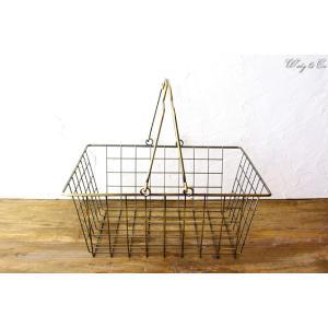 ワイヤーバスケット AntiqueGold M (収納かご ランドリー カゴ) wutty