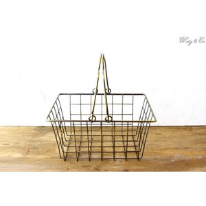 ワイヤーバスケット AntiqueGold S (収納かご ランドリー カゴ)|wutty