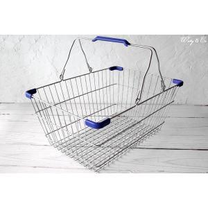 ワイヤーバスケット PlasticHandle BL L (収納かご ランドリー カゴ)|wutty