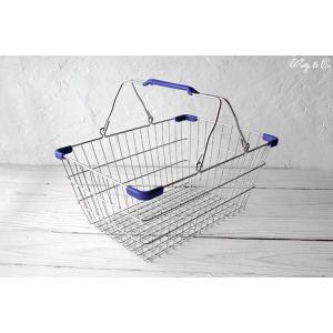 ワイヤーバスケット PlasticHandle BL M (収納かご ランドリー カゴ)|wutty