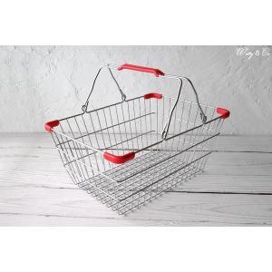 ワイヤーバスケット PlasticHandle RD M (収納かご ランドリー カゴ)|wutty