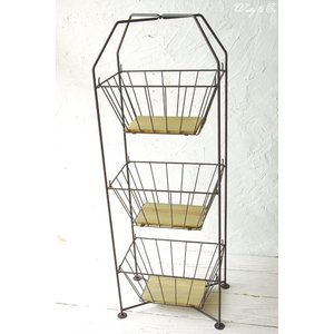 収納ラック 3段 ThreeWireRack Brown 組立式 ( ワイヤーバスケット アイアン 収納かご リビング ランドリー キッチン トイレ )|wutty