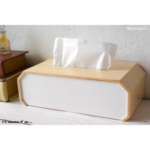 ティッシュケース 木製 OCTAGON White (ティッシュカバー)|wutty