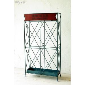 傘立て Slim Wood Plate Blue ( おしゃれ シンプル アイアン アンティーク調 玄関収納 アンブレラスタンド )|wutty