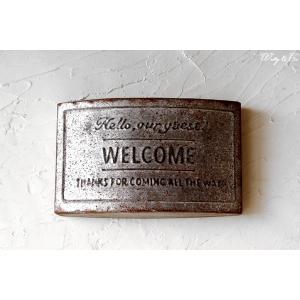壁飾り Welcome Plate Rect ( ティンプレート ウォールプレート ) HBT|wutty