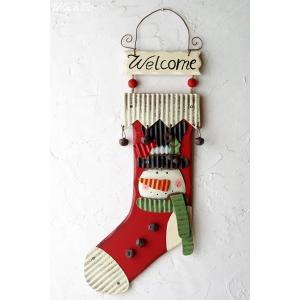 壁飾り Socks Deco Snowman ( 壁掛け スノーマン ドアプレート )|wutty