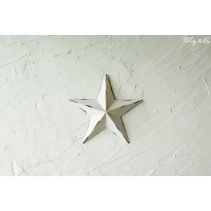 壁飾り STAR S-size White ( アンティーク調 置物 壁掛け 星型 オーナメント ブリキ ) KI|wutty