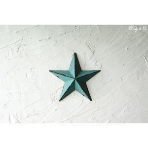 壁飾り STAR S-size Blue ( アンティーク調 置物 壁掛け 星型 オーナメント ブリキ ) KI|wutty