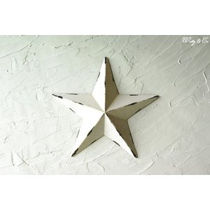壁飾り STAR M-size White ( アンティーク調 置物 壁掛け 星型 オーナメント ブリキ ) KI|wutty