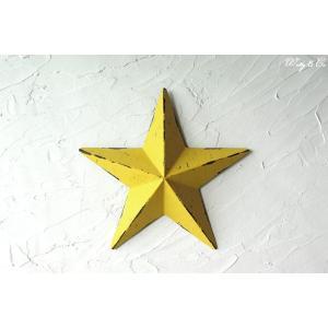壁飾り STAR M-size Yellow ( アンティーク調 置物 壁掛け 星型 オーナメント ブリキ ) KI|wutty
