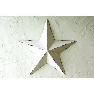 壁飾り STAR L-size White ( アンティーク調 置物 壁掛け 星型 オーナメント ブリキ ) KI|wutty